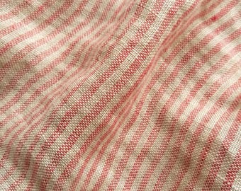 Pure soft linen fabric with  regular stripes#gray and red color#light fabric#transparent
