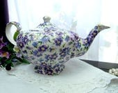 Gorgeous Vintage Arthur Wood Pansy Chintz Teapot Tea Pot