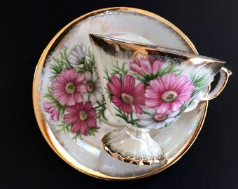 "Vintage Tea Cup and Saucer, Pearlized ""October Cosmos"" Teacup, Japanese Bone China 13917"