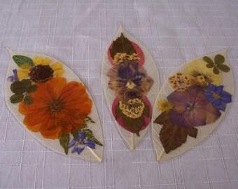 Pressed flowers on leaf skeletons book marks, set of 3. Set 044.