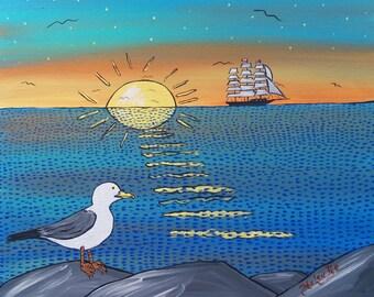 Original Folk Art Painting Nautical Sunset Ship Seagull 11''x14''Nova Scotia wall art Ocean Seascape Bright Whimsical Popular Helen Pye Art