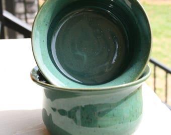 2 Pottery Cereal Bowls Aqua Glaze NC Pottery