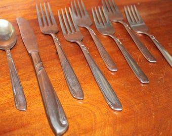 Swirls Vintage Flatware from HULL in Karlstad Pattern Stainless Silverware BIN 12 knives fork spoon