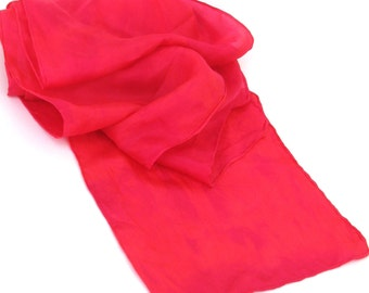 SALE  ...  hot pink and red  ...   hand dyed habotai silk  scarf