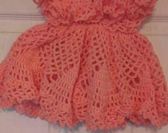 Peach crochet dress