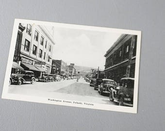 Pulaski VA Postcard Black and White Washington Avenue Reproduction
