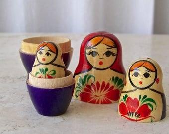 Vintage Matryoshka Nesting Dolls Mother Adorned in Bright Red Shawl Purple Dress 3 PC Set Circa 1990s