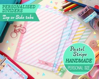HANDMADE PERSONAL (Top or Side tabs) Personalised Pastel Stripe Dividers, Filofax Personal, Louis Vuitton MM Agenda, Kikki.K Medium Planner