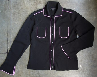 Vtg 90's Black Cardigan Top with Pink Piping Details Rayon Knit Oxford BlouseSmall Medium