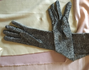 Vintage 1960s black and silver lurex elbow length evening gloves