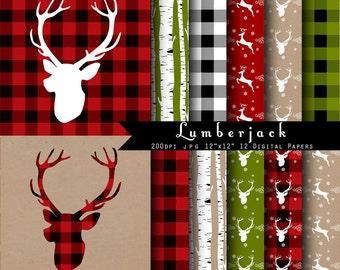 Lumberjack Christmas Deer Digital Scrapbook Papers - Red, kraft paper, Deer antler  INSTANT DOWNLOAD