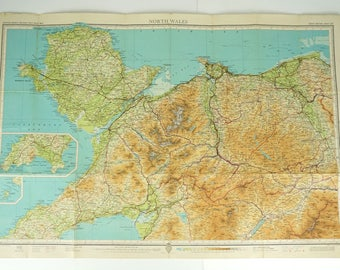 North Wales Map, Poster Map of North Wales, Very Large Old Bartholomew's Map