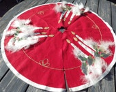 RESERVED for Robert Stack Stunning Vintage 1950s felt and sequins applique Christmas tree skirt with marabou trim!