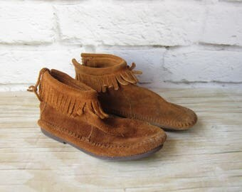 Vintage Moccasins Leather Booties Woman's Size 4 BOHO Festival Concert