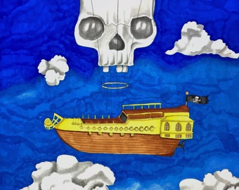 Illustration Flying Pirate Ship