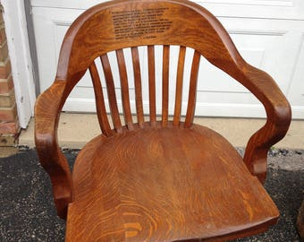 Unique One Of A Kind Antique Solid Oak Swivel Desk Chair on Wheels Wood Burned Golf Quote by Bobby Jones Vintage 1900 Lawyers Bankers Chair