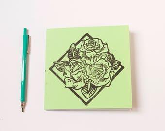 handmade notebook- handprinted cover- light green- poetry