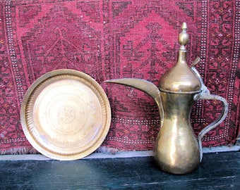 Turkish Brass  Dallah Teapot and Tray Set, Vintage