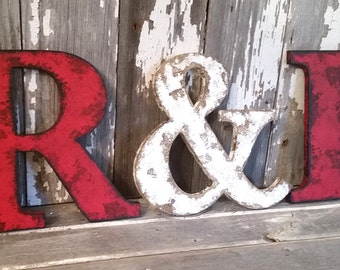 """Rustic Letter 9.5"""" Tall Name Personalize Ampersand Cottage Country Style Home Decor shabby chic Joanna Gaines Alphabet Photo prop Wedding"""