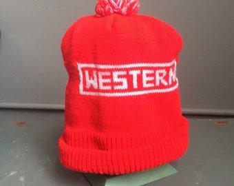 Vintage Western Snowplows orange Winter Knit Pom Hat kitsch 1970s
