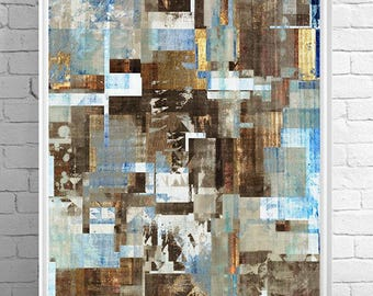 blue abstract, mixed media art, weathered art, vintage art, abstract painting, color block, textured art, geometric print, modern painting