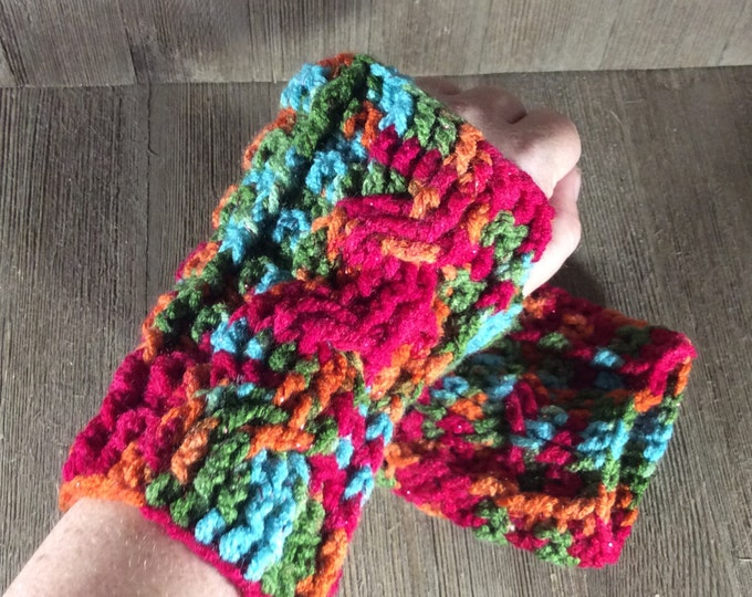 Cable Stitch Crochet Wrist Warmer Fingerless Gloves - Fruity Print Metallic
