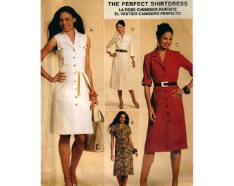 """Shirtdress Sewing Pattern Princess Seams Collar Front Buttoned Classic Fit Women's Dress UNCUT Size 6-12 Bust 30.5-34"""" McCall's M5847 S"""
