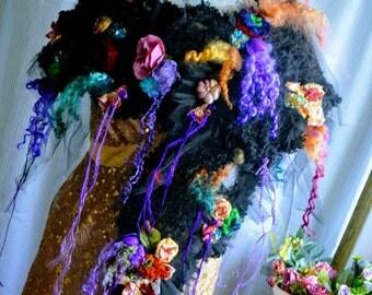 Bohemian romantic shawl artsy shawl mori girl fairy mixed media art to wear shawl gypsy crocheted  embellished shawl