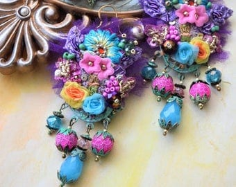Bohemian Romantic earrings fairy gypsy art to wear mixed media collage