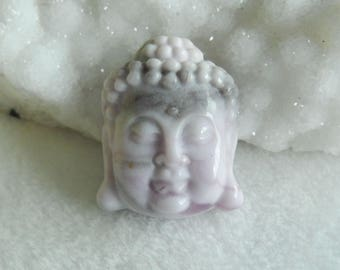 New,Carved Blue Purple Lace Agate Buddha Head  Pendant Bead Precious Stone Healing Pendant 29x23x10mm,13.52g