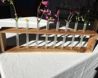 Gift For Her, Planter, french countryside, Minimalist Vases, Test Tube Vase, Bud Vases, Rustic Wood Vases, Six Test tubes, Vase Home Decor,