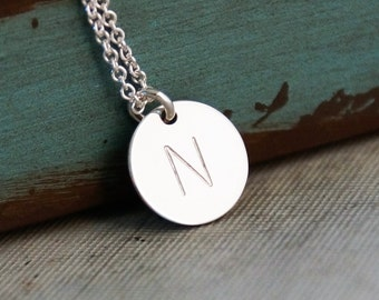 Initial Necklace - Custom Necklace - Personalized Jewelry - Sterling Silver Hand Stamped Jewelry