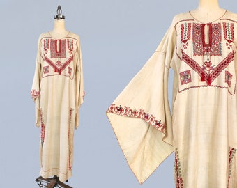 RESERVED --RARE! 1920s Dress / Raw Silk Moroccan Caftan Dress / 20s Tunic Dress /  Folk Embroidery / Camels and Geometric Motifs / INSANE An
