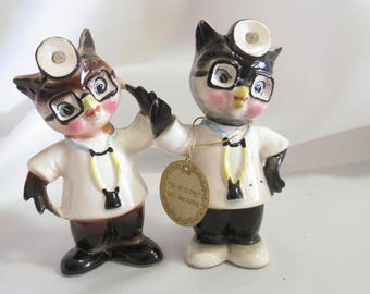 Vintage Enesco Novelty Anthropomorphic Doctor Owl Salt and Pepper Shakers