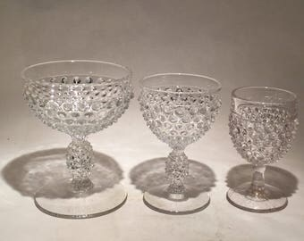 Duncan & Miller Hobnail Champagne Coupe, Cocktail Glass, and cordial