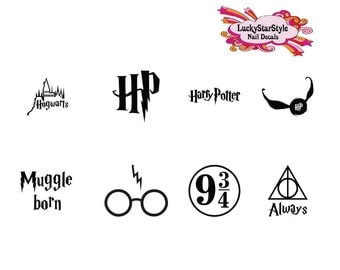 Waterslide Nail Decals Set of 20 -  Harry Potter, Hogwarts, Quidditch Assorted