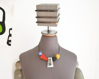 Art Statement Necklace - Hand Painted - Adjustable - Wood Modern Abstract