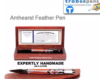 Pen gift for him or her - Authentic Amherst feathers in ballpoint pen with gun metal parts Amherst bird feather pen gift for him or her