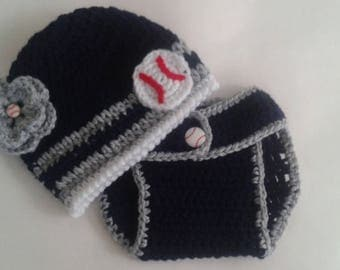 Custom Personalized Baby Girl NY Yankees Inspired Baseball Flower Button  Sports Fan Photo Prop Adjustable Diaper Cover and Beanie Hat Set