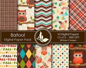 40% off Fall Owl Paper Pack - 10 Digital scrapbooking papers - 12 x12 - 300 DPI