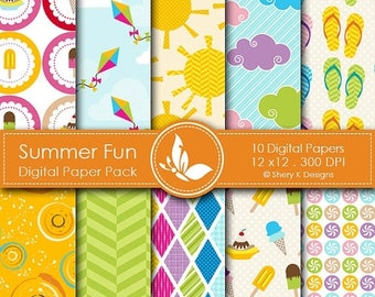40% off Summer Fun Paper Pack - 10 Printable Digital Scrapbooking papers - 12 x12 - 300 DPI