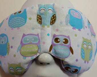 Herbal Hot/Cold Therapy Sleep Mask with adjustable and removeable strap Cute Purple and Blue Owls
