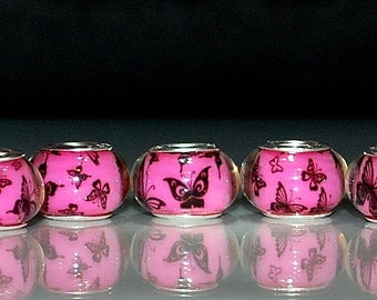 10 pcs Butterfly Pattern on Rose Pink Backgrund Acrylic Resin Large Hole Beads for European Charm Bracelets