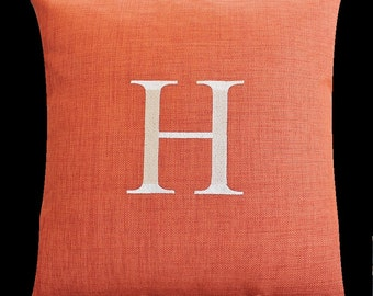 Monogrammed Indoor Outdoor Pillow Initial Cover in Burnt Orange | Personalized | Alphabet | Embroidered | Wedding