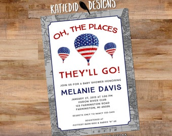 Oh the places you will go invitation patriotic map baby shower hot air balloon birthday baptism graduation world travel 12128  American flag