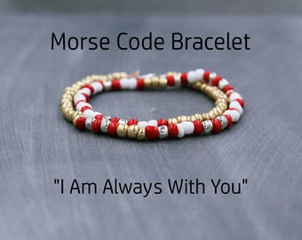 Long Distance Relationship Jewelry, Morse Code Bracelet, Hidden Message Bracelet, Distance Bracelet, Long Distance Relationship Gift for Her