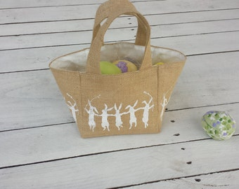 Burlap Easter basket, soft basket, kids easter, easter basket for a girl or a boy, egg hunt, bunny basket, dancing bunnies