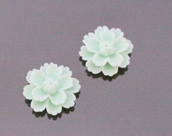 Light Mint Resin Wild Flower Flat Back Cabochon, Resin Flower Embellishments, Jewelry Making Supplies, KH32184