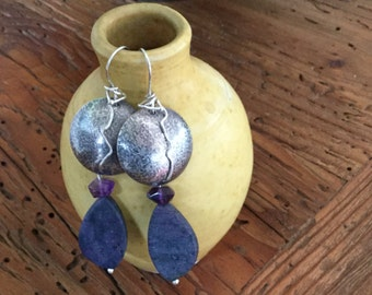 Unique Hammered Sterling Silver & Amethyst Earrings
