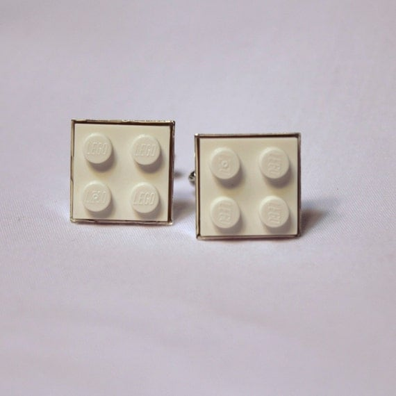 White Lego Plate Cufflinks - Silver plated - Valentine's Day Gift - Colorful Cuff Links